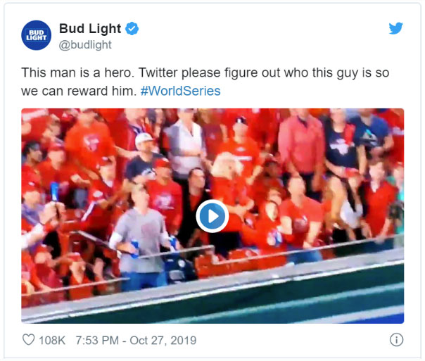 Bug light tweet about world series beer guy