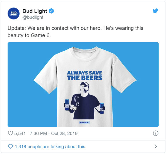 Bug light tweet about world series beer guy's new shirt