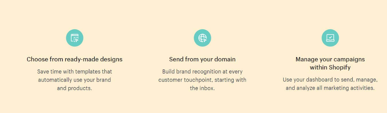 Shopify email feature list