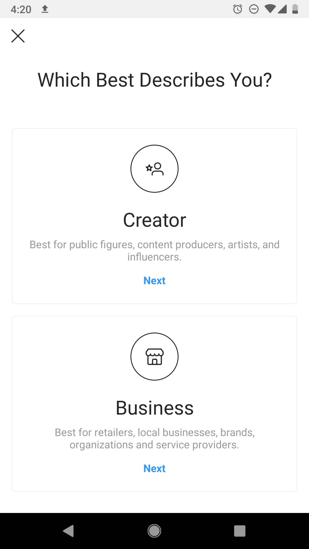 Instagram business account type selection