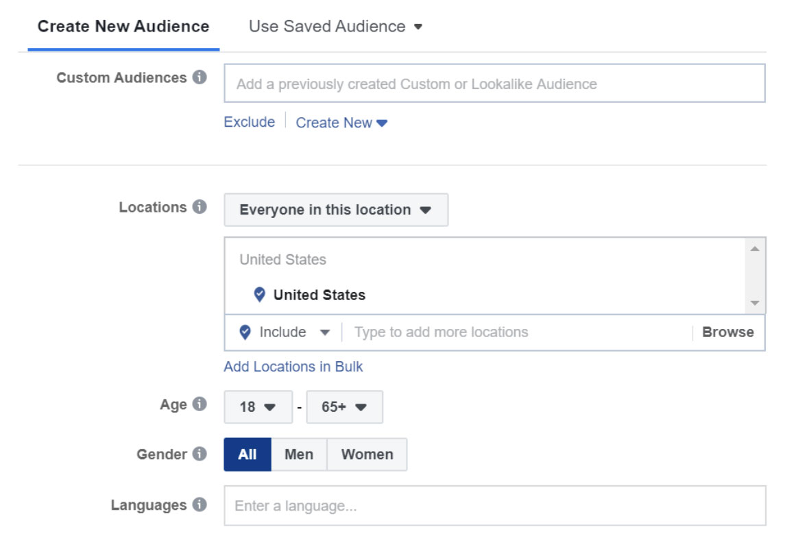 Facebook ad audience selection