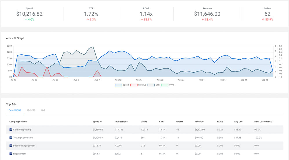 ThoughtMetric ad campaign tracking screenshot
